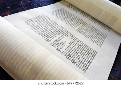 AUCKLAND - MAY 30 2017:Torah scroll text.  the Oral Torah was given to Moses at Mount Sinai, which, according to the tradition of Orthodox Judaism, occurred in 1312 BC.