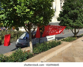 AUCKLAND, MAY 7: Banners of Socialist Aotearoa, an activist organisation of anti-capitalist workers and students at Aotea Square in Auckland, New Zealand on Saturday, May 7, 2016.
