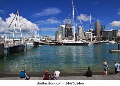 Auckland / New Zealand - 15 Dec 2018: The marina in Auckland city, New Zealand
