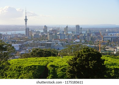 AUCKLAND, NEW ZEALAND -5 AUG 2018- View of downtown Auckland seen from the summit of the Mt Eden crater (Maungawhau) in Auckland, New Zealand.