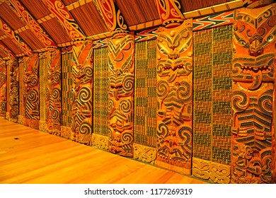 AUCKLAND, NEW ZEALAND -5 AUG 2018- View of the landmark Auckland War Memorial Museum Tāmaki Paenga Hira with traditional Maori art in Auckland, New Zealand.