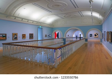 AUCKLAND, NEW ZEALAND -5 AUG 2018- View of the landmark Auckland Art Gallery Toi o Tāmaki, the most extensive collection of national and international art in New Zealand.
