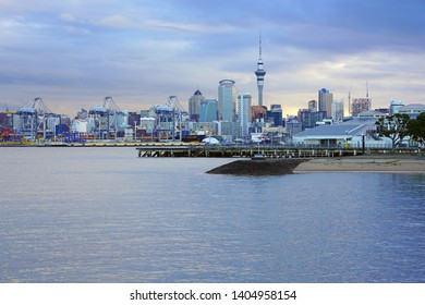 AUCKLAND, NEW ZEALAND -5 AUG 2018- View of the Port of Auckland, a commercial container port in the Waitemata Harbour in Auckland, New Zealand.