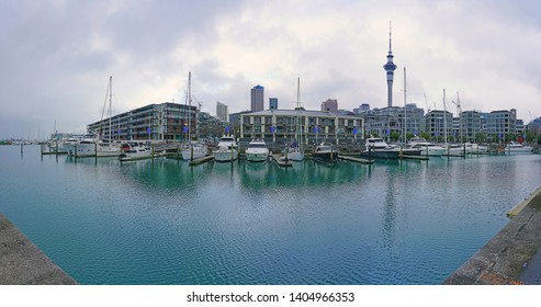 AUCKLAND, NEW ZEALAND -5 AUG 2018- View of the Auckland skyline with the Auckland Tower from the Waitemata Harbour in Auckland, New Zealand.