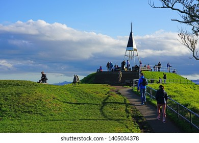 AUCKLAND, NEW ZEALAND -5 AUG 2018- View of downtown Auckland seen from the summit of the Mt Eden crater (Maungawhau) in Auckland, New Zealand