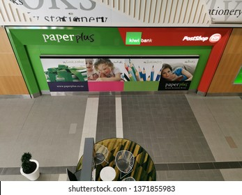 Auckland / New Zealand - April 17 2019: View of Paper Plus, Kiwibank and NZ Post office at Sylvia Park