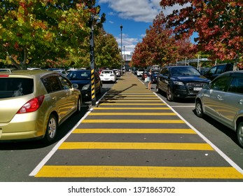 Auckland / New Zealand - April 17 2019: View of Sylvia Park car park with autumn trees and yellow zebra sign