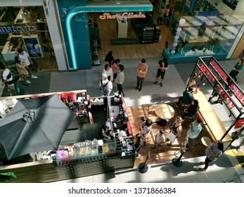 Auckland / New Zealand - April 17 2019: Aerial view of Gong Cha bubble tea shop in Sylvia Park