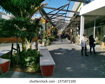 Auckland / New Zealand - April 17 2019: View of Sylvia Park's cafe alley