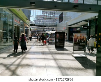 Auckland / New Zealand - April 17 2019: View of Sylvia Park shopping center central aisle