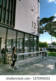Auckland / New Zealand - April 18 2019:  View of Sno cafe at apartment and office building 10-12 St Marks Road, Remuera