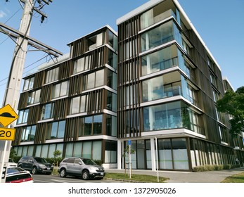 Auckland / New Zealand - April 18 2019:  View of apartment and office building 10-12 St Marks Road, Remuera