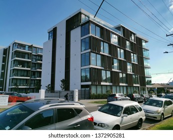 Auckland / New Zealand - April 18 2019:  Apartment and office building 10-12 St Marks Road, Remuera