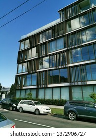 Auckland / New Zealand - April 18 2019:  Frontal video of apartment and office building 10-12 St Marks Road, Remuera