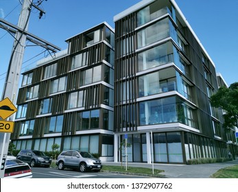 Auckland / New Zealand - April 18 2019:  Horizontal corner view of apartment and office building 10-12 St Marks Road, Remuera