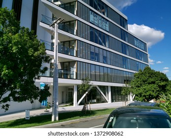 Auckland / New Zealand - April 18 2019:  Motorway side view of apartment and office building 10-12 St Marks Road, Remuera