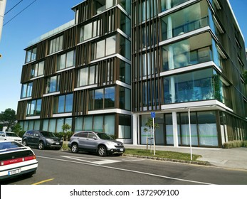 Auckland / New Zealand - April 18 2019:  View of apartment and office building 10-12 St Marks Road, Remuera with cars