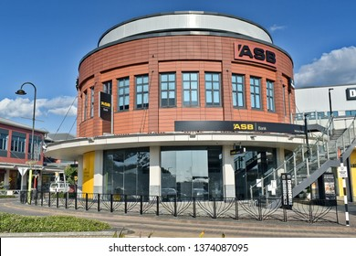 Auckland / New Zealand - April 19 2019: ASB Bank building in Botany Town Centre