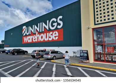 Auckland / New Zealand - April 2 2019: Customers walking in front of Bunnings Warehouse East Tamaki mega store