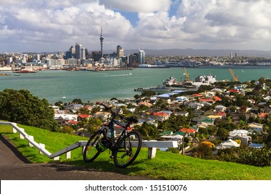 AUCKLAND, NEW ZEALAND - APRIL 2013: A view of Auckland City from Mount Victoria, Devonport, New Zealand,April 2013.