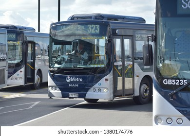 Auckland / New Zealand - April 25 2019: Bus driving at Panmure bus station