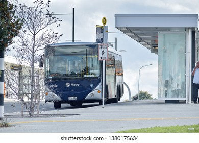 Auckland / New Zealand - April 25 2019: Bus stopped at Panmure bus station