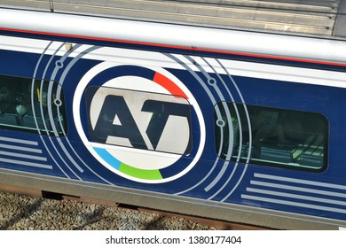 Auckland / New Zealand - April 25 2019: Auckland Transport (AT) sign on train at Panmure train station