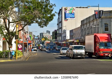 Auckland / New Zealand - April 4 2019: Khyber Pass Road perspective view from Broadway