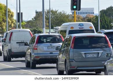 Auckland / New Zealand - April 9 2019: Close-up view of Pakuranga road traffic