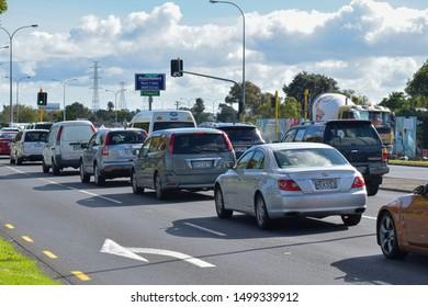 Auckland / New Zealand - April 9 2019: View of Pakuranga road traffic