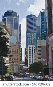Auckland / New Zealand - August 24 2019: View down Shortland Street to Swanson Street with QBE and ANZ towers in background