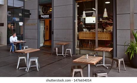 Auckland / New Zealand - August 7 2019: View of Espresso Workshop cafe in Britomart