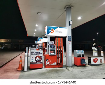 Auckland / New Zealand - August 9 2020: View of Techron gas station in Henderson