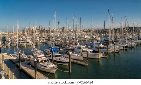 AUCKLAND, NEW ZEALAND - DEC 7 : Auckland city skyline and Westhaven Marina on 7 December, 2017 in Auckland, New Zealand. Westhaven Marina is the largest yacht marina in the Southern Hemisphere.