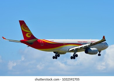 AUCKLAND, NEW ZEALAND - DECEMBER 17: Hainan Airlines Airbus A330 landing at Auckland International Airport on December 17, 2017 in Auckland