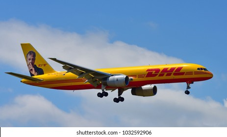 AUCKLAND, NEW ZEALAND - DECEMBER 17: DHL Tasman Cargo Airlines Boeing 757 freighter in Grand Tour Jeremy Clarkson livery landing at Auckland International Airport on December 17, 2017 in Auckland