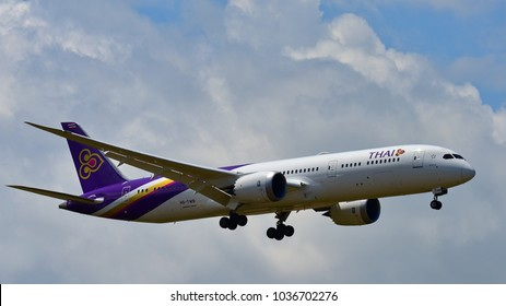 AUCKLAND, NEW ZEALAND - DECEMBER 17: Thai Airways new Boeing 787-9 Dreamliner landing at Auckland International Airport on December 17, 2017 in Auckland