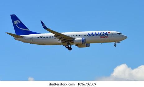 AUCKLAND, NEW ZEALAND - DECEMBER 17: Samoa Airways Boeing 737-800 landing at Auckland International Airport on December 17, 2017 in Auckland