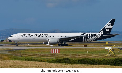 AUCKLAND, NEW ZEALAND - DECEMBER 17: Air New Zealand Boeing 777-300ER taxiing at Auckland International Airport on December 17, 2017 in Auckland