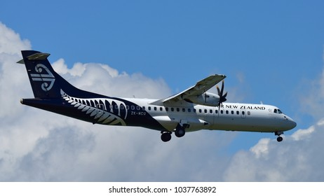 AUCKLAND, NEW ZEALAND - DECEMBER 17: Air New Zealand ATR-72 domestic turboprop aircraft landing at Auckland International Airport on December 17, 2017 in Auckland