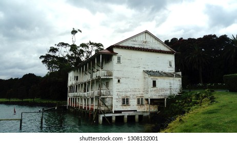 Auckland, New Zealand, December 20, 2018: Derelict building of the Takapuna Boating Club in Bayswater, Auckland.