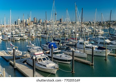 AUCKLAND, NEW ZEALAND - DECEMBER  7: Auckland city skyline and Westhaven Marina on 7 December, 2017 in Auckland, New Zealand. Westhaven Marina is the largest yacht marina in the Southern Hemisphere.