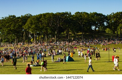 Auckland, New Zealand - December 9 2017: Christmas in the Park celebration during a summer day at Auckland Domain