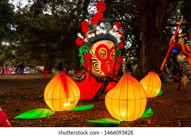 Auckland, New Zealand - February 12, 2017: Handmade Chinese lanterns at the Auckland Domain, New Zealand.