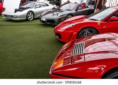 AUCKLAND, NEW ZEALAND - FEBRUARY 12, 2017:  Ellerslie Classic Car Show. Ferrari line up.
