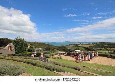 Auckland / New Zealand - February 15 2016: Mudbrick Vineyard winery on Waiheke Island
