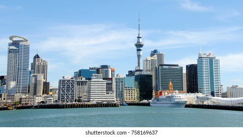Auckland / New Zealand - February 15, 2017: Waterfront on a sunny day in New Zealand.