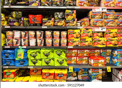 AUCKLAND, NEW ZEALAND - FEBRUARY 22, 2017: Instant noodles from various brands displayed in a supermarket.