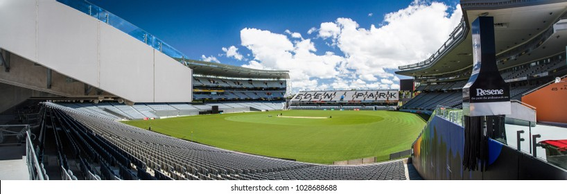 Auckland / New Zealand - Jan 10, 2014 : Panorama of the eden Park stadium configured for cricket