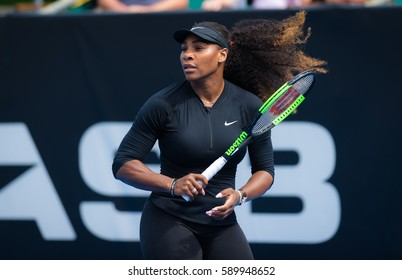 AUCKLAND, NEW ZEALAND - JANUARY 1 : Serena Williams at the 2017 ASB Classic WTA International tennis tournament